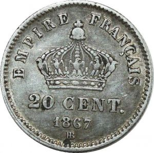 O8065 20 Centimes Napoléon III 1867 BB Strasbourg Argent Silver ->F offre