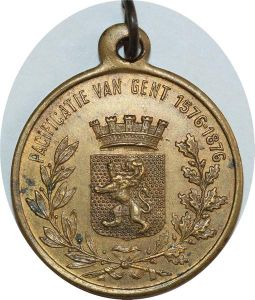 O8186 Dutch Belgium Medal 300 years Union against Spanish Gent 1576 1876 AU