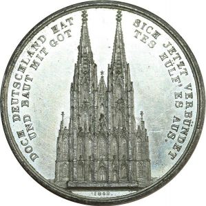 O8239 German Medal Alte stadt Kohn Cologne Dom Ausbau 1842 AU ->Make offer