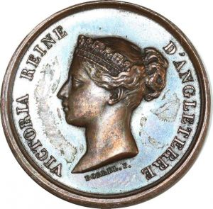 O8242 British Medal Queen Victoria Gardes Nationaux 1849 Borrel AU SUP