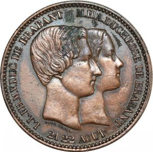 O8245 Belgium 10 Centimes Leopold I 1853 royal wedding AU
