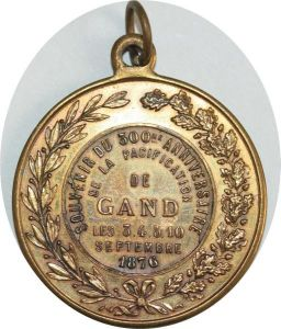O8249 Médaille Belgique Ville 300 ans Paficification Gand 1876 ->Make offer