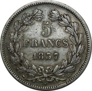 O887 5 Francs Louis Philippe I 1837 B Rouen Argent Silver