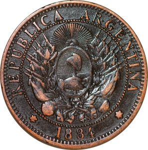 O9866 Argentina 2 Centavos Capped liberty head 1884 -> Make offer
