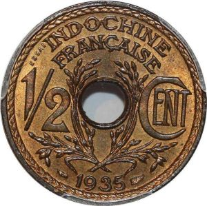 P0414 Scarce French Indochina Indochine 1/2 centimes Essai 1935 PCGS SP65