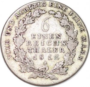 S6077 Prusse 1/6 Thaler Frédéric-Guillaume III Roi Prusse 1812 Silver