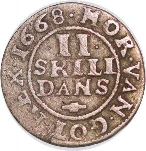 S6970 Danemark 2 Skilling Frederick III 1668 Silver ->Make offer