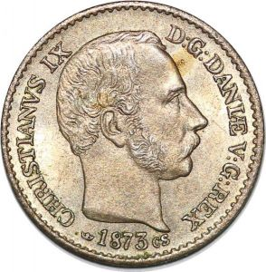 S7167 denmark 4 skilling Rigsmont Christian IX 1873 CS Silver Uncirculated