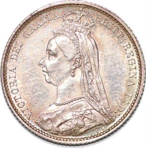 S7237 UK 6 Pence Six Victoria 1887 Silver AU ! MS