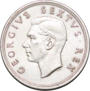 S7244 South Africa 5 Shillings 1952 Capetown Georgius Sextus Rex Silver