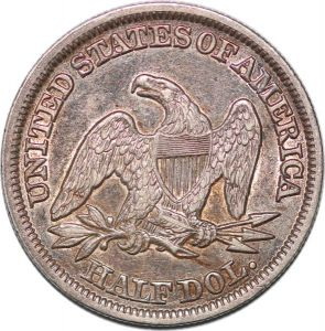 S7255 USA 50 Cents Half Dollar Liberty Seated 1846 Tall Date Silver AU !