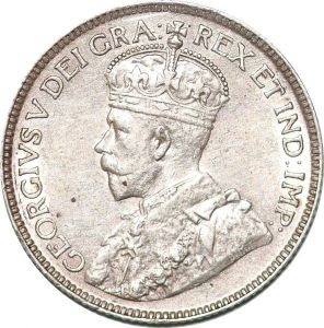 S7267 Canada 50 Cents George V 1918 Silver AU ->Make offer