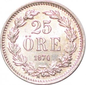 S7293 Sweden 25 Öre Oskar 1874 ST Silver AU UNC ->Make offer