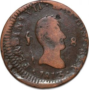 S7453 Spain Reino de España 8 Maravedis Fernando VII 1813 ->Make offer
