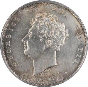 S7733 Rare Great Britain 6 Pence George IV 1826 PCGS AU Genuine Silver