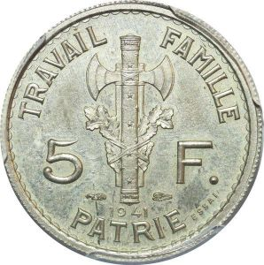 S7764 Rare 5 Francs Essai Petain 1941 PCGS SP63 Splendide Maillechort