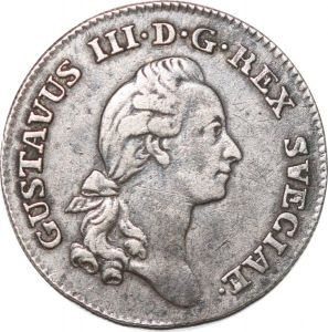 S8077 Sweden Suède 1/6 Riksdaler Stockholm 1778 Gustav III Silver ->Make offer