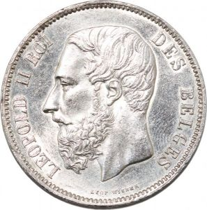 S8477 Belgium 5 Francs Leopold II 1873 Argent Silver Avers FDC UNC Revers SUP