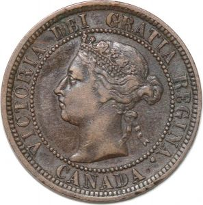 S8897 Canada One Cent Victoria 1888 Counterstamped Alex M 11 ->Faire Offre