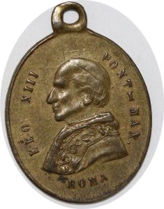 S9221 Medaglia Papal Leo XIII Pont Max Roma San Benedetto Giuseppe Labbe