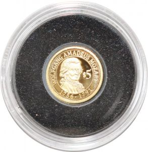 S9459 Rare Nauru 5 Dollars 2010 Amdaeus Mozart Or Gold PF BE -> Make offer