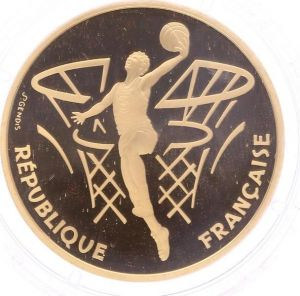 S9957 Rare Coffret 500 francs Basketball 1991 Or Gold BE PF Proof Coa