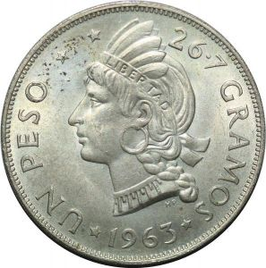 T6163 Dominican Republic Peso 1963 Argent Silver -> M Offer