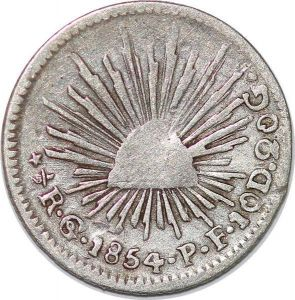 T8148 Mexico 1/2 Real GO PF 1854 Silver Argent -> M Offer