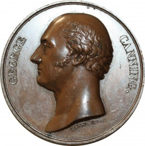 O5509 Scarce Great Britain Medal George Canning Tribute 1827 Baron Desnoyers SUP