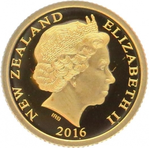 O4994 New Zealand Dollar Elizabeth II Hector s Dolphin 2016 OR Gold BE PF PROOF