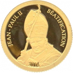 O4983 Gabon 1000 Francs CFA Beatification John Paul II 2014 OR Gold BE PF PROOF