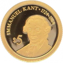 O5003 Salomon Islands 5 Dollars Immanuel Kant 2010 OR Gold BE PF PROOF