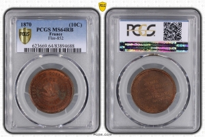 M7662 FINEST 10 Centimes Balloon Essai Siège Paris Flor-852 1870 PCGS MS64 GEM