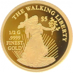 O5009 Cook Islands 5 Dollars Elizabeth II Walking Liberty 2014 OR Gold BE PF PROOF