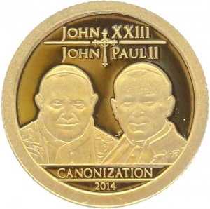O4979 Tanzania 1500 Shillings Pope John XXIII John Paul II 2014 OR BE PF PROOF