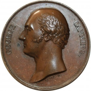 O5485 Scarce Great Britain Medal George Canning Tribute 1827 Baron Desnoyers SUP
