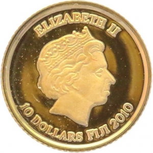 O5034 Fiji 10 Dollars Elizabeth II Egypt 2010 OR Gold BE PF PROOF