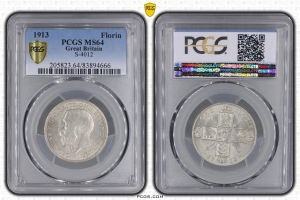 M7730 Rare Great Britain UK Florin 1913 PCGS MS64 Silver
