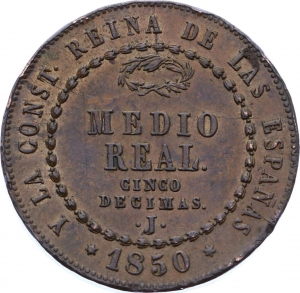 O2272 Scarce !! SPAIN Medio real 1/2 Isabel 1850 Jubia PCGS MS62