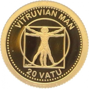 O5007 Vanuatu 20 Vatu Vitruvian Man 2013 OR Gold BE PF PROOF
