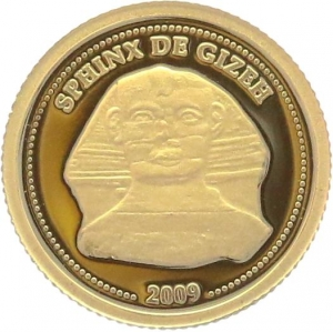 O4986 Congo 10 Francs Sphinx Gizeh Egypt 2009 OR Gold BE PF PROOF