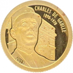 O4982 Gabon 1000 Francs CFA General De Gaulle 2013 OR Gold BE PF PROOF