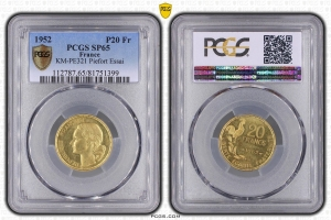M4549 Finest Known TRES RARE 20 Francs Essai Piefort Guiraud 1952 PCGS SP65 FDC