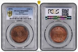 M7664 FINEST 10 Centimes Balloon Essai Siège Paris Daguerre 1870 PCGS MS65 GEM