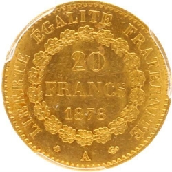 AA31 20 Francs Or Gold Génie 1878 A Paris PCGS MS 64