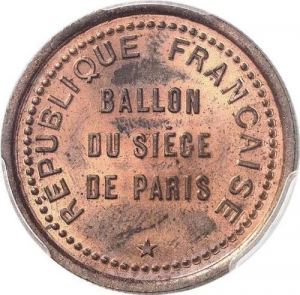 M7661 Siege 10 centimes Ballon Renault Balloon Gare Orléans 1870 PCGS MS65 RED