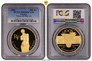 M9960 Rare 500 francs Venus Louvre Milo 1993 OZ Or Gold 999 BE PCGS PR68 CAMEO