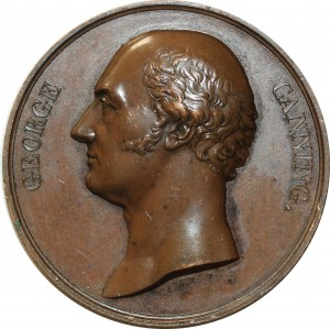 O5500 Scarce Great Britain Medal George Canning Tribute 1827 Baron Desnoyers SPL