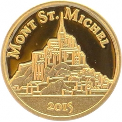 O4985 Congo 100 Francs CFA Mont St Michel 2015 OR Gold BE PF PROOF