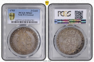 M5451 Rare Holland Utrecht 3 Gulden West Friesland 1793 PCGS MS62 Argent